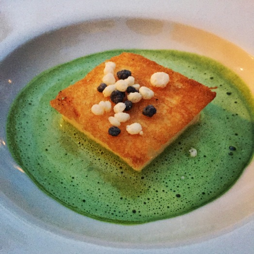 Mousse grouper with a herb broth
